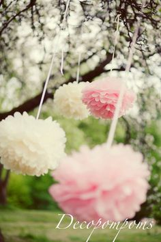 15 Large Tissue PAPER POM POMS Kit  wedding by decopompoms on Etsy, $33.00
