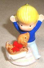 "1981 JOAN WALSH ANGLUND Ceramic Figurine ""Little Blond BOYw/ DOG"" Opening gift"