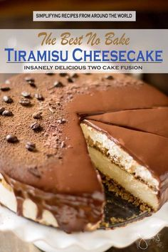 Best ever no bake tiramisu and cheesecake fusion with chocolate ganache