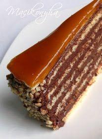 Macikonyha: Dobostorta Torte Recepti, Kolaci I Torte, Almond Cream Cake Recipe, Creme Brulee, Oreo, Cake Recipes, Birthday Cake, Sweets, Snacks