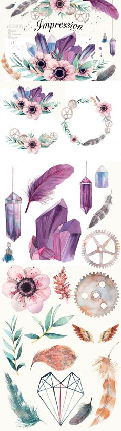Florals, feathers, crystals and soft steampunk illustrations clip art