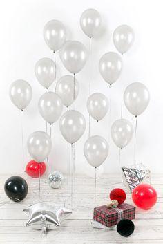 Воздушные шары 30 см, серебряные, 15 шт.