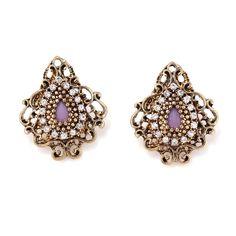 Gold-Tone Metal Filigree Crystal Stud Earrings