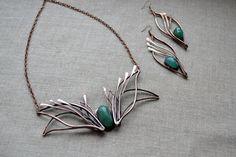 Art Nouveau green necklace by TanyaKolyada on Etsy