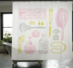 Powder room shower curtain, from izola.com