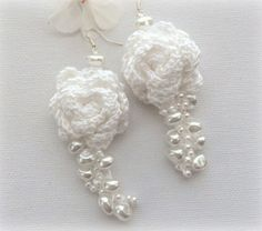 Crochet Earrings White Earrings Dangle by CraftsbySigita on Etsy