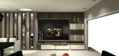 Sala de jantar e TV integradas, para apartamento de jovem casal. Projeto desenvolvido em parceria com a arquiteta Sylvia Akai.