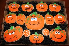 Decorated Pumpkin Cookies, Halloween pumpkins, Halloween cookie favors, custom…
