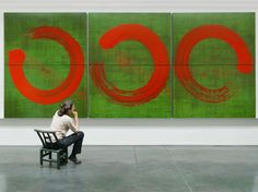 red circles green abstract art by Fabienne Verdier: