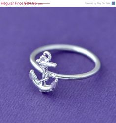 Mothers Day Sale Anchor Ring  Sterling by TheJewelryGirlsPlace