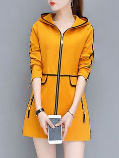 Product Name:Hooded Contrast Trim Zips Pocket CoatEmbellishment:Contrast Trim / Slit Pocket / ZipsMaterial:BlendCollar&neckline:HoodedSleeve:Long SleeveOccasion:Casual / DateSeason:Autumn / WinterPackage Included:Top / 1 Casual Skirt Outfits, Stylish Outfits, Fashion Outfits, Cute Outfits, Plain Hoodies, Cool Coats, Cute Jackets, Professional Outfits, Outerwear Women