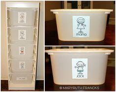 Supercute laundry organizing idea!! She has the link for the cute stick people too!