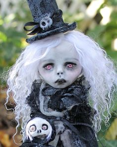 OOAK art doll horror fantasy vampire monster Lil' Poe by A. Gibbons