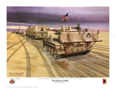 The Road to War - Painting and caption information - By Michael Goettner - Commemorating the 20th anniversary of Operation Desert Shield / Storm - 25 February 1991 Southern Iraq. The painting was commissioned by the 138th Fires Brigade in 2011 for a limited edition of signed and numbers prints of the original painting. The concept for the artwork is taken from a photograph taken by Lt. John Dooley of A Battery.