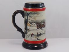 Budweiser Holiday Christmas Beer Stein Mug 1990 by LindaLuVintage on Etsy