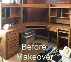 I've been updating my craft room / home office recently. One of the last pieces to get a makeover was a very large desk that we've had for years. Before its mak… Large Office Furniture, Large Office Desk, Large Computer Desk, Large Corner Desk, Large Desk, Using Chalk Paint, Chalk Paint Desk, Painting Laminate Furniture, Large Curtains