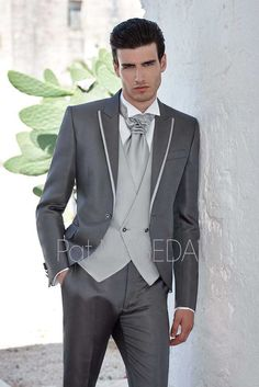 >> Click to Buy << Latest Coat Pant Designs Grey Men Suit Double Breasted Slim Fit 3 Piece Gentle Tuxedo Custom Groom Prom Suits Terno Masculino  #Affiliate
