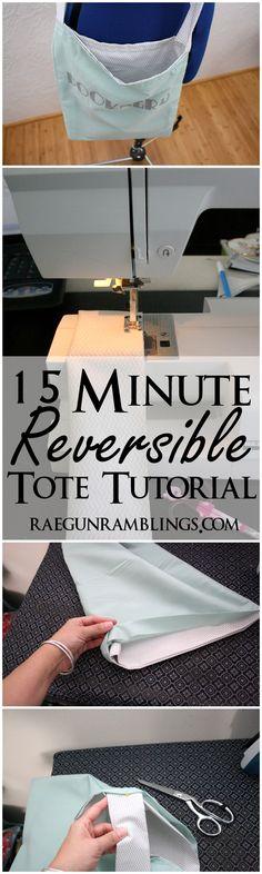 Quick and easy book bag tutorial at Rae Gun Ramblings