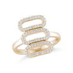 TAYLOR BETH: Yellow Gold Cutout Diamond Ring