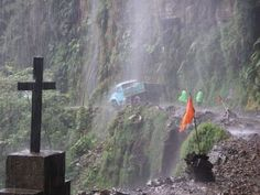 Yungas 'Death Road' [TopGear] The Most Dangerous Road in the World Yungas Road, Dangerous Roads, Sea Level, Bolivia, Death, World, Places, Painting, Car