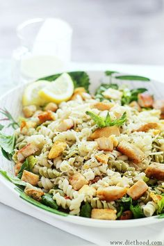 Chicken Caesar Pasta Salad with Light Caesar Dressing   www.diethood.com   #recipe #chicken #caesarsalad