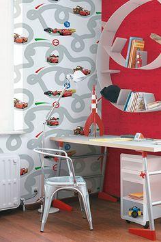 Disney Cars - Kids at home wallpaper - decor: Cars - Racetrack Boys Room Wallpaper, Home Wallpaper, Disney Pixar Cars, Car Bedroom, Bedroom Ideas, Shared Bedrooms, New Room, Kids House, Soft Furnishings