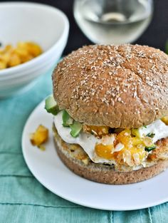 Shrimp Burgers with Chipotle Cream and Coconut Peach Salsa  LOVE the idea of shrimp burgers!!!  no too sure about the toppings but once you have the basic shrimp burger down you can make it your own and be creative.