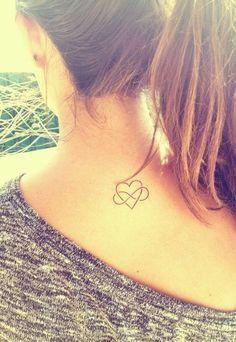 Heart Tattoo for Girl on Back Neck