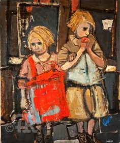 Joan Eardley (1921-63). Scottish painter, whose subjects included the children of the Glasgow slums around her Townhead studio. I love the rough nature of this piece with bold pops of colour and strong lines