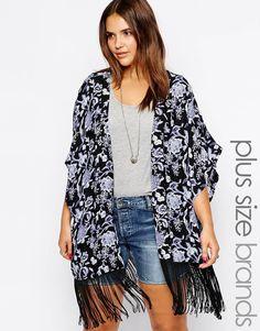 New Look Inspire | New Look Inspire Rose Print Tassel Kimono at ASOS