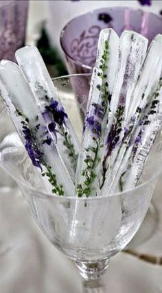 Ice Sticks with Lavender. could also use Rosemary. DIY Lavender Recipes and Project Ideas - Lavender Tall Ice Sticks - Food, Beauty, Baking Tutorials, Desserts and Drinks Made With Fresh and Dried Lavender - Savory Lavender Recipe Ideas, Healthy and Vegan - DIY Projects and Crafts by DIY JOY http://diyjoy.com/diy-projects-lavender-herbs