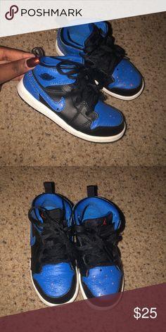 258ab512499b Air Jordan s Black and blue splatter paint air Jordan s toddler size 9  Jordan Shoes Sneakers Paint