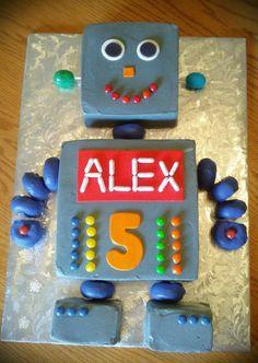 Robot cake - New Ideas Boys Birthday Cakes Easy, Airplane Birthday Cakes, First Birthday Cakes, Cakes For Boys, 4th Birthday Parties, Boy Birthday, Birthday Ideas, Robot Cake, Robot Theme