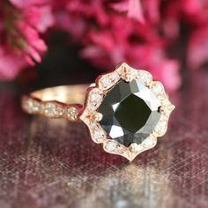 Hey, I found this really awesome Etsy listing at https://www.etsy.com/listing/243069865/vintage-floral-black-spinel-diamond