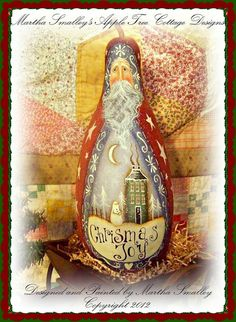 "E Pattern - Martha Smalley's Apple Tree Cottage Designs -""Christmas Joy Santa Gourd"""