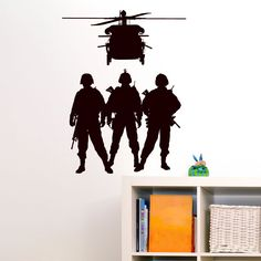 Quality Soldiers And Helicopters Miltary Wall Sticker