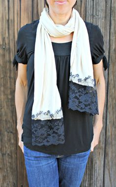 Champagne tan jersey knit scarf with black by PinkBowBathBoutique, $22.00