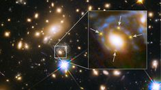 Astronomers Down Under have captured the moment a far off star exploded - not once but four times.  In doing so, they confirmed an effect predicted by Albert Einstein's general theory of relativity 100 years ago.  The supernova was directly behind a cluster of huge galaxies whose  enormous mass warped space-time, creating a cosmic magnifying glass.  As light from the supernova passed through the distorted region of space it produced multiple images, proving Einstein's century-old theory…