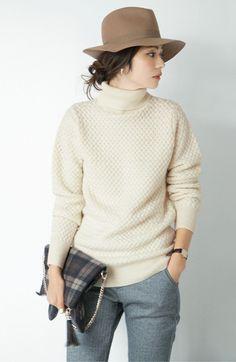 IEDIT レーベルコレクションバスケット編みのウール混ミドルゲージタートルニットの会 | フェリシモ