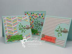 """Mini cartes de remerciements pour le mois de juin. Réalisées avec Parcelles de vie et le superbe papier à motifs """"une touche de fun"""". Visitez http://jardindepapier.com/mini-cartes-parcelles-de-vie/"""