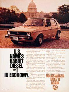 1978 Volkswagen Rabbit Diesel Sedan vintage ad. Achieves 53 mpg highway and 40 mpg city. U.S. names Rabbit Diesel #1 in economy.