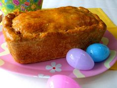 Easter Bread ... This recipe makes two very deep loaf pans filled to the brim, or one 9x13 deeper than normal pan, and believe me they are heavy!