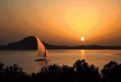 El Sol saliendo para mirar Egipto y el Nilo