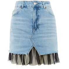 Topshop Moto Tulle Under Denim Skirt ($44) ❤ liked on Polyvore featuring skirts, bottoms, topshop, mid stone, topshop skirts, blue denim skirt, blue high waisted skirt, high waisted knee length skirt and tulle skirts