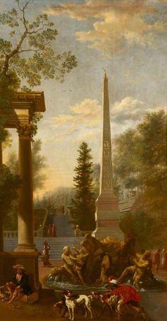 Capriccio met centrale fontein van Bernini op de Piazza Navona in Rome, toegeschreven aan Johannes Lingelbach