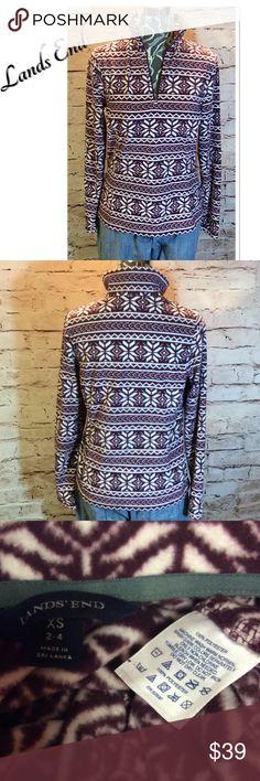 SZ XS LAND'S END FLEECE 1/4 ZIP TOP Pretty plum and white 1/4 zip pullover in a soft lightweight fleece Lands' End Tops Sweatshirts & Hoodies