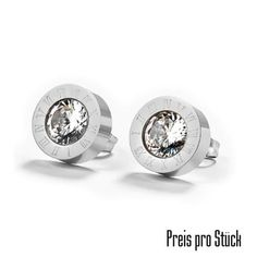 Edelstahl Ohrstecker kristall-silber » noch mehr Edelstahl Ohrschmuck im Shop » bereits ab 20.- EUR versandfrei » Jetzt günstig kaufen Piercing, Cufflinks, Engagement Rings, Accessories, Jewelry, Roman Numerals, Stainless Steel Earrings, Ear Jewelry, Stud Earring