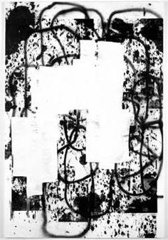 """My Fucking Brain, Christopher Wool, 2001, enamel &silkscreen ink on linen, 108x72""""- process shots work in progress @pg305 Wool, Taschen Press, 2012"""