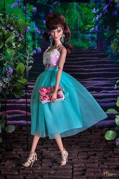 ELENPRIV mint tutu ballet midi tulle skirt for Fashion royalty FR2 Nu Face Color Infusion Barbie and similar body size dolls by elenpriv on Etsy