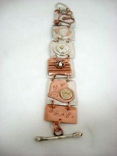 Sterling and Copper Riveted Heart Linked Bracelet | Silvercloud - Jewelry on ArtFire